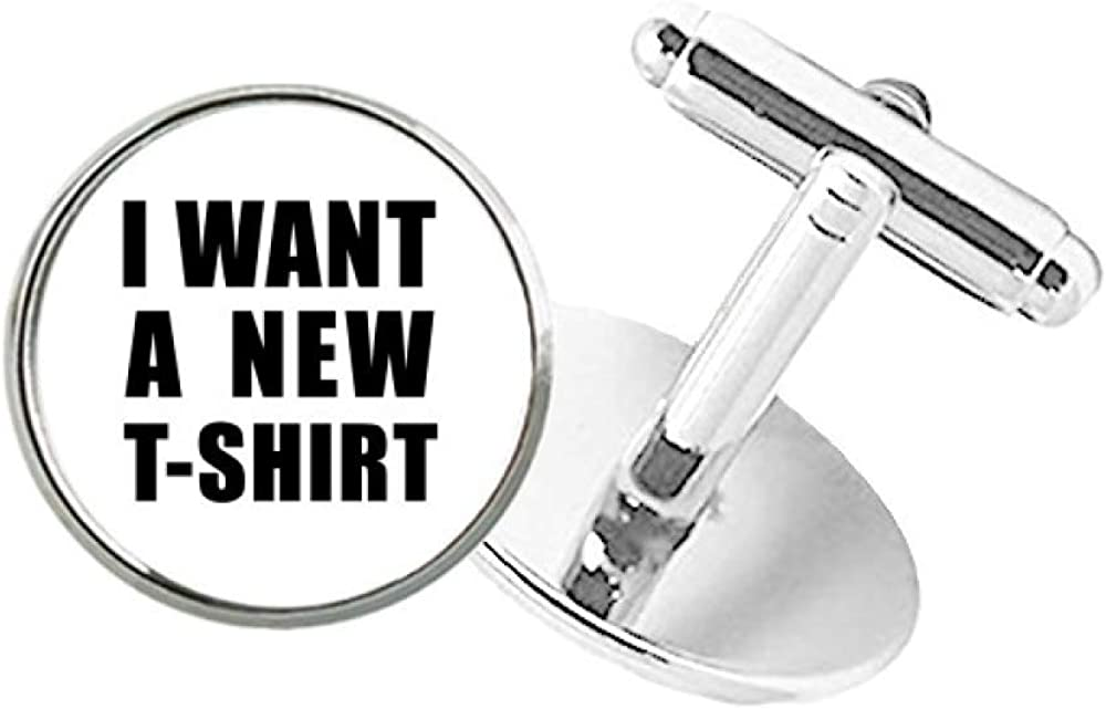 DIYthinker I Want A New T-Shirt Round Button Cuff Clip Stud Cufflinks