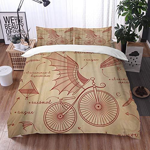 Bedding Juego de Funda de Edredón -Diseños de bocetos de Da Vinci para Bicicletas Retro Flying Machines/Microfibra Funda de Nórdico (Cama 200 x 200 cm + Almohada 50X80 cm)