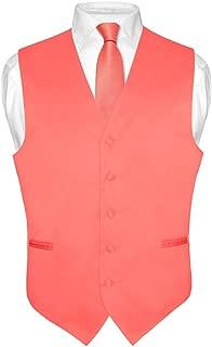 Men's Dress Vest & Necktie Solid Coral Pink Color Neck Tie Set for Suit or Tux