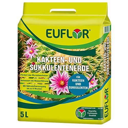 Euflor Kakteen- und Sukkulentenerde 5 L Beutel, mit ausgewogener Grunddüngung, hochwertiger Quarzsand für eine optimale Wasserführung