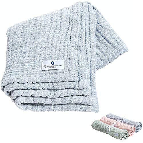 Nordic Coast® Musselin Decke Premium – 4 in 1 Baby Krabbeldecke in Blau – 100% Oeko Tex Baumwolle – Mulltuch Babydecke Pucktuch Spucktuch – Hochwertige Qualität