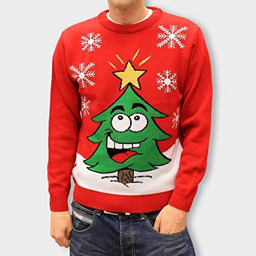 DenimBar.ie Jersey Rojo para Hombre y Mujer Unisex Navidad con Arbol de Navidad - Tallas XXS - XXXXL