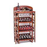 FPigSHS Armarios para Vino Soporte de exhibición de Vino de Madera Maciza, Bar de Bodega Posavasos Vinoteca de pie Estante de Almacenamiento de Botellas múltiples (Color : A, Size : 72 * 35 * 130CM)