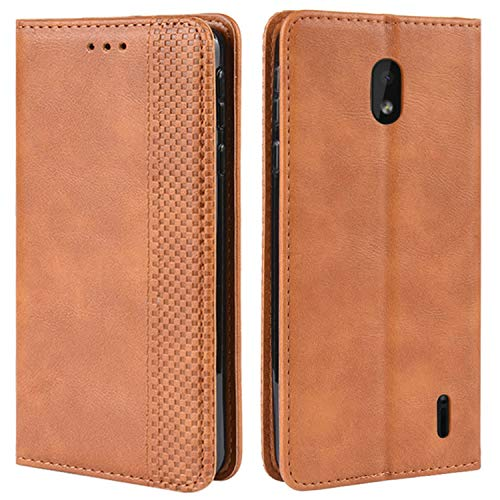 HualuBro Handyhülle für Nokia 1 Plus Hülle, Retro Leder Brieftasche Tasche Schutzhülle Handytasche LederHülle Flip Hülle Cover für Nokia 1 Plus 2019 - Braun