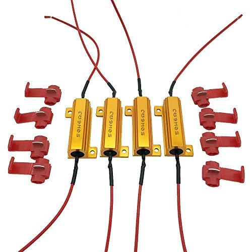 Malayas 4PCS Résistances de Charge pour Clignotants à LED 50W 6OHMS Résistances Decoder Imperméable avec 8 attaches rapide Idéal pour Phares LED / Feux de jour / Feu de freinage / Feux de brouillard