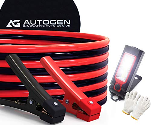 AUTOGEN Jumper Cables 1 Gauge 30 Ft 900A Heavy Duty Booster Cables with Professional Grade Clamps for Trucks