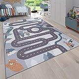 Paco Home Kinder-Teppich, Spiel-Teppich Für Kinderzimmer Straßen-Motiv Mit Tieren Creme, Grösse:80x150 cm