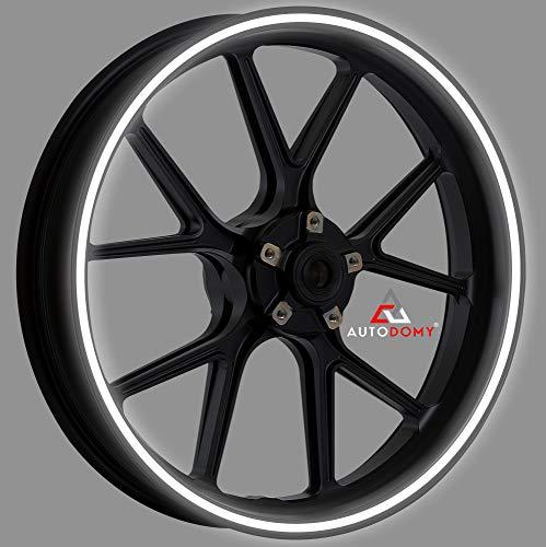 Autodomy Pegatinas Llantas Moto Reflectante Sport Juego Completo para 2 Llantas de 15' a 19' Pulgadas (Blanco/Plata Reflectante, Ancho 10 mm)