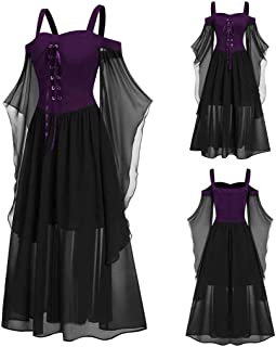 XQXCL Women Dresses, Womne Plus Size Off Shoulder Butterfly Sleeve Lace Up Halloween Dress Sexy Evening Party Dress