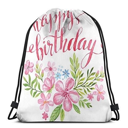 Zaino con coulisse Borsa unisex per viaggi in palestra, bouquet di fiori Acquerello con asciugacapelli per scrittura a mano