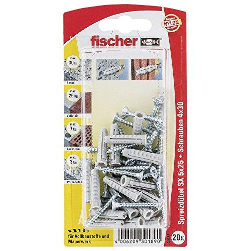 fischer 030189 SK SB-Karte, Inhalt Dübel SX 5 x 25, 20 x Spanplattenschraube 4 x 30