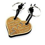 Lieblingsmensch Schlüsselanhänger Partnerset aus Holz - geteiltes Herz Puzzle