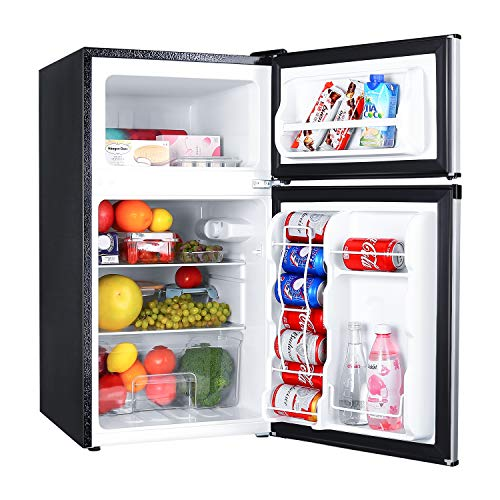 Compact Refrigerator 3.2Cu.Ft, TACKLIFE 2 Door Mini Fridge with Freezer Super Quiet, Stainless Steel Silver Door, Energy Saving for Bedroom, Dorm, Apartment, Office, Garage, MVSFD321
