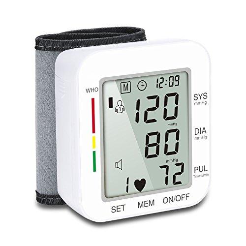 SFASTER automatische polsbloeddrukmeter manchet met LCD-scherm BP-monitor, BP-manchet om onregelmatige hartslag te detecteren, inclusief intelligente spraakfunctie