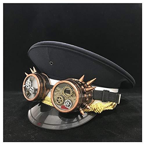 LHZUS Sombreros Sombrero de for Hombres con Clases de Equipo Sombrero Militar de algodón Negro Steampunk Sombrero de capitán Sombrero de Guardia Sombrero Adulto 3 Tamaño (Color : Negro, Size : 61)