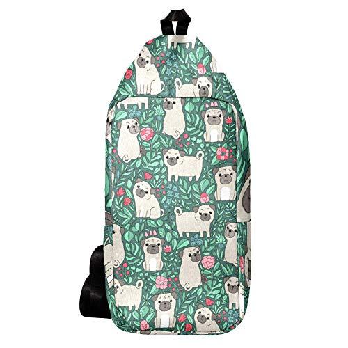 EZIOLY Lustiger Rucksack mit schwedischen Cartoon-Hunden, Schultertasche, Umhängetasche, Reisen, Wandern, Tagesrucksack für Männer und Frauen
