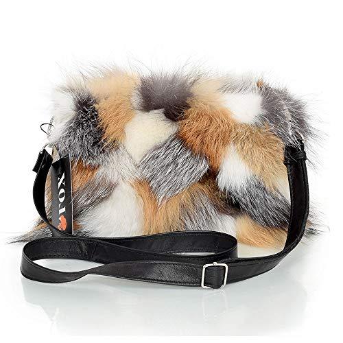 FOX FASHION Damen Umhängetasche mit Reißverschluss aus Fuchsfell Handtasche Pelztasche Fuchs Fell Pelz Grau Fuchspelz Tasche Echtfell Silber Felltasche Echt