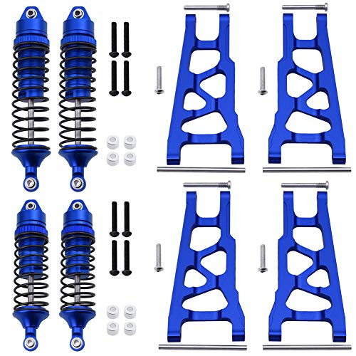 Hobbypark Front & Rear Aluminum Suspension Arms Set and Full Metal Shock Absorber Assembled for 1/10 Traxxas Slash 4x4 Hop-ups,Replacement of 3655x 5862 (Navy Blue)
