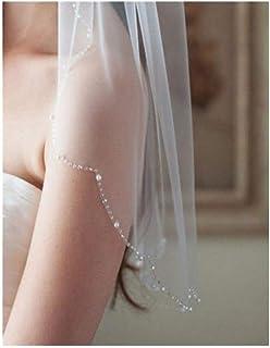 ZYFZD White/Ivory 1 Layer Cut Bead Edge Wedding Veil Lace Bride Veil Blusher Veil Cheap bridal Veil Wedding Accessories (Color : Ivory)