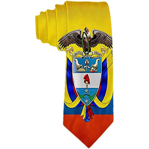 Hombres 'S Corbata Colombia Escudo De Armas Y Bandera Poliéster Corbata De Seda