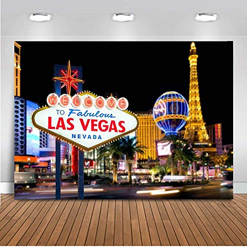 Avezano Welcome to Las Vegas Backdrop Casino City Night Scenery Background 5x3ft Vinyl Billboard Banner Themed Party Decoration Backdrops