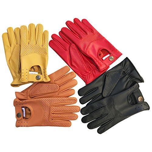 Herren-Handschuhe zum Autofahren, weiches, Echtleder, enganliegend, Retrostil, 508, Herren, 508, 508-Red, S
