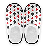 Mnsruu Zapatillas de casino de póquer con tarjeta de póquer, antideslizantes, de algodón, para el hogar, hotel, spa, dormitorio, viaje, M, para hombres y mujeres