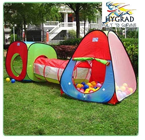 HYGRAD BUILT TO SURVIVE Kids Pop Up Tent 3 Pc Adventure Crawl Tube Tunnel Toy Outdoor/Indoor Garden Play