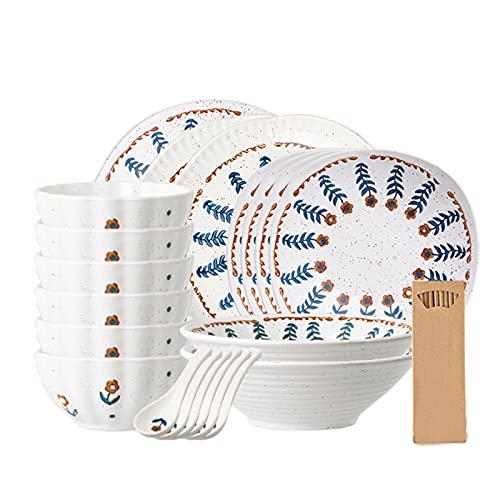 WLGQ Juego de vajilla de Porcelana, Juego de vajilla de Arcilla Blanca de 23 Piezas con Plato de Cena, Plato de Postre, Cuenco de Cereal, Servicio para 4