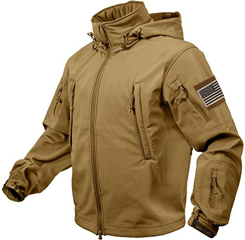 Rothco Special Ops Tactical Soft Shell Jacket with Patches Bundle (Large, Coyote Brown with Khaki Patches)
