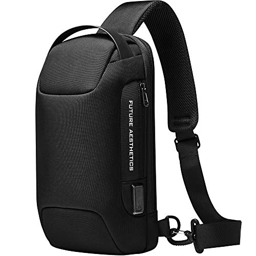 BANGE Anti-Diebstahl Sling Bag Wasserdichte Herren Brusttasche Schulter Casual Crossbody Rucksack mit USB-Ladeanschluss