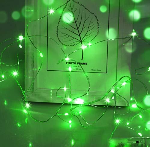 Cshare Mikro-Lichterkette, 5 m, batteriebetriebene Lichterkette mit 50 grünen LEDs auf Silberdraht, Wanddekoration für Schlafzimmer