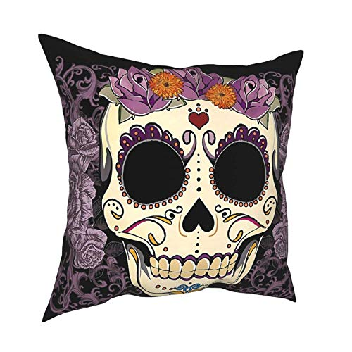 Lawenp Vintage Skull and Roses Throw Pillow_1 Throw Pillow Covers 18 X 18 Inch45 X 45cm for Couch Farmhouse Outdoor Christmas Pillows Decorativos