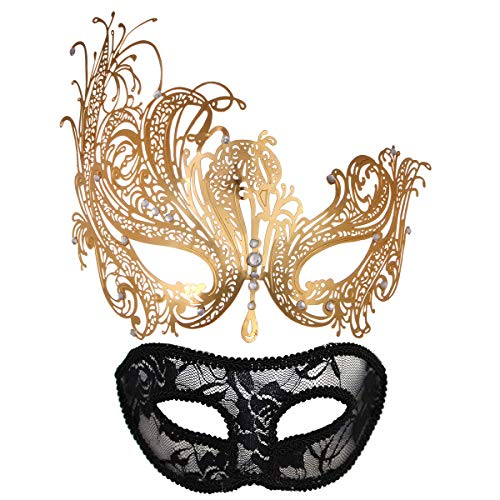 Masquerade Mask For Couples Women Metal Rhinestone Venetian Pretty Party Evening Prom ball Mask Luxury Metal Mask with Free Lace Mask 2 Pack (Queen Gold)