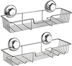 SANNO Two Shower Caddy,Strong Suction Cup Bathroom Shower Caddies,Bath Shelf Storage Combo Organizer Basket, Kitchen & Bathroom Accessories for Shampoo Conditioner Rustproof Stainless Steel(Set of 2)