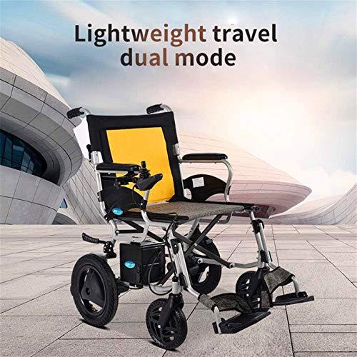 Silla de ruedas eléctrica plegable De peso ligero plegable Silla de ruedas eléctrica, Scooter eléctrico for las personas mayores, el Dual Control delantero y trasero, batería de litio de 12Ah, asiento