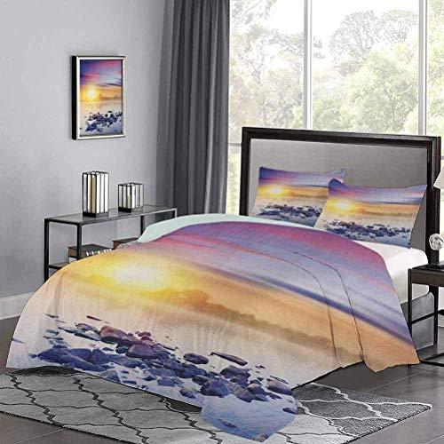 Yoyon Set di Biancheria da Letto Magic Summer Sunset in The River con Aurora Borealis in The Sky Copripiumino con Stampa Rocks Universe Molto Morbido, Confortevole ed Elegante Multicolore