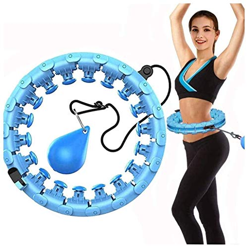 APzek Weighted Smart Hula Exercise Hoop for Adults and Kids, 2 in 1 Abdomen Fitness Weight Loss Massage No Falling Hula Fitness Hoops, Adjustable 24 Detachable Knots Weight Spinning Ball (Blue)