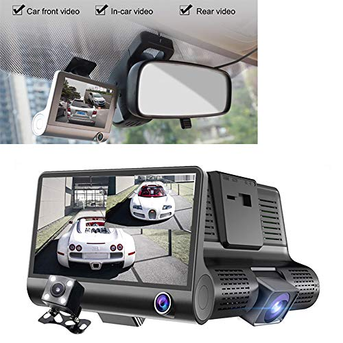 Why Choose 3 Cameras Dash Cam, 4Inch Screen 170° Wide Angle, FHD 1080P Driving Recorder, with G-Sen...