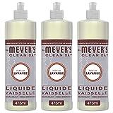 Mrs. Meyer's Clean Day - Liquide Vaisselle - Fabriqué avec des huiles essentielles* - Parfum Lavande - 3 x 473 ml