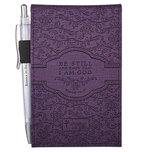 """Purple """"Trust"""" Pocket Notepad w/Pen - Psalm 46:10 Photo #3"""