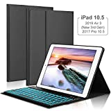 iPad Keyboard Case for iPad Air 2019( 3rd Gen)10.5' /iPad Pro 10.5 2017,OYOSUOGG 7 Color Backlit Wireless Bluetooth Keyboard Case Folio Protective Slim Stand Cover with Auto Sleep/Wake Function -Black