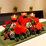 FORUP Christmas Centerpiece, Christmas Candle Holders, Christmas Tabletop Poinsettia Centerpiece with 3 Candle Holders, Romantic Holiday Candelabrum for Home Party Christmas Table Mantel Decorations