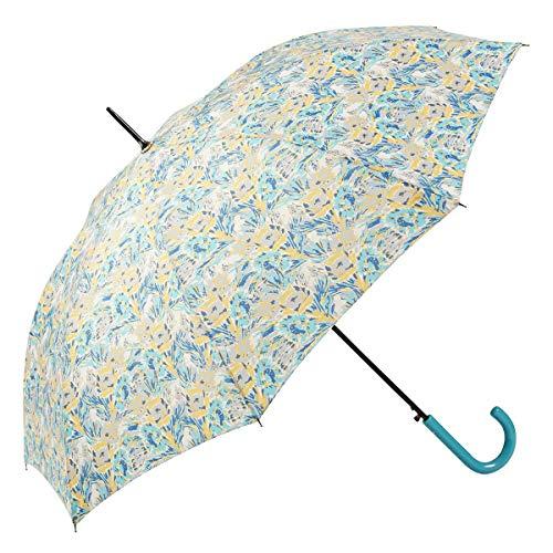 GOTTA Paraguas Largo antiviento de Mujer|Automático con puño Curvo de plástico| Tejido Estampado Flores (Turquesa - Amarillo)