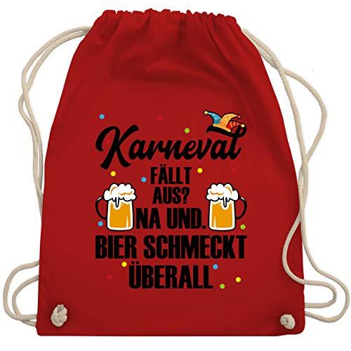 Shirtracer Karneval & Fasching - Karneval fällt aus Bier schmeckt überall - schwarz - Unisize - Rot - WM110_Stoffbeutel - WM110 - Turnbeutel und Stoffbeutel aus Baumwolle