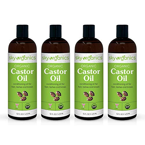 Castor Oil USDA Organic Cold-Pressed (16oz x 4 Pack) 100% Pure Hexane-Free Castor Oil - Conditioning & Healing, For Dry Skin, Hair Growth - For Skin, Hair Care, Eyelashes - Caster Oil By Sky Organics