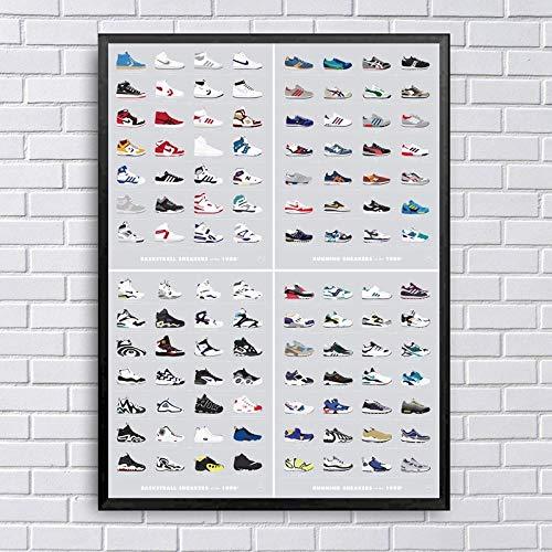 LDTSWES - Póster de estilo moderno, impresión, baloncesto y zapatillas de carrera, lienzo pintado, 40 x 60 cm