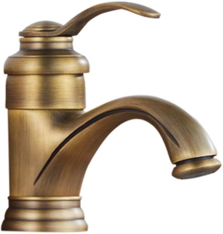 Kitchen creative copper antique basin European retro wash basin wash basin hot and cold water faucet paint color