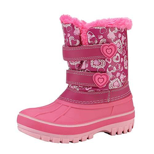 DREAM PAIRS Botas de nieve para niños y niñas, para niños pequeños/niños grandes, para invierno, Rosa/Rebel Fun., 22 MX Niño pequeño