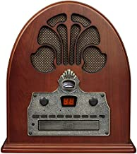 Crosley CR32D Cathedral Retro Am/FM Tabletop Radio with Bluetooth Receiver and CD Player, Paprika